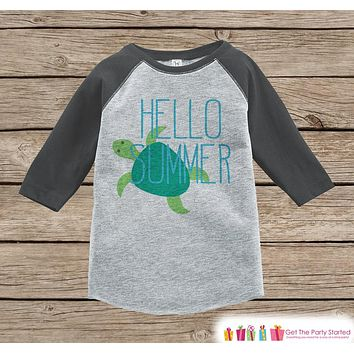 Hello Summer Turtle Onepiece or Raglan - Summer Outfit For Kids - Grey Baseball Tee or Onepiece - Fun Summer Outfit for Baby, Youth, Toddler
