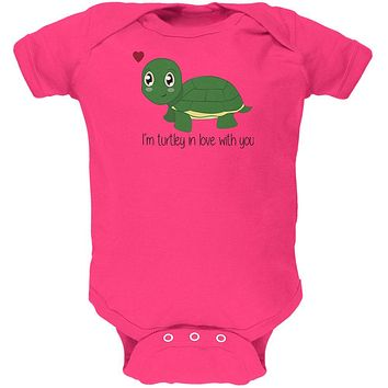 Turtle I'm Totally In Love With You Funny Pun Valentine's Day Soft Baby One Piece