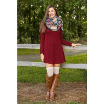 Autumn Chill Sweater Dress-Wine