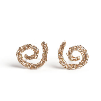 Gold Spiral Earrings , Handmade Wire Crochet Jewelry , Post Earrings , Stud Earrings , Gold Earrings