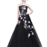 STRAPLESS FLORAL EMBROIDERED GOWN