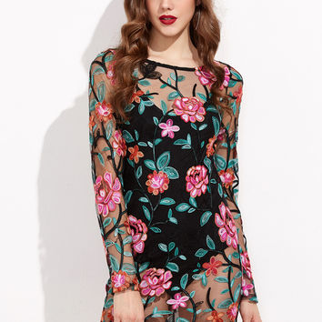 Black Tied Scoop Back Embroidered Mesh Overlay Bodycon Dress   MakeMeChic.COM