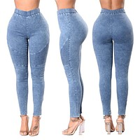 Women Jeans Pant Spring High Waist Slim Long Jeans Elastic Waist  Pencil Jeans Pants Causal Hip Jeans