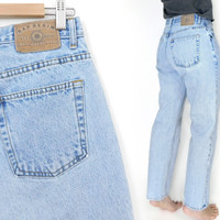 Sz 10 90s GAP High Waisted Mom Jeans - Vintage Women's Loose Fit Stone Wash Light Rinse Ankle Jeans