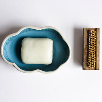 LAST BLUE DISHES/ end of collection. ceramic soap holder. quirky cloud soap dish. blue bathroom decor. minimalist, modern. pottery soap dish