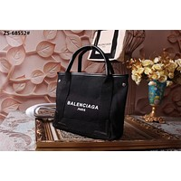 BALENCIAGA WOMEN'S CLOTH AND LEATHER TOTE BAG SHOULDER BAG