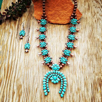 Copper & Turquoise Squash Blossom Necklace