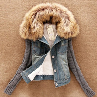 Women's Warm Comfy Comfortable Fur Fleece Denim Jacket Coat