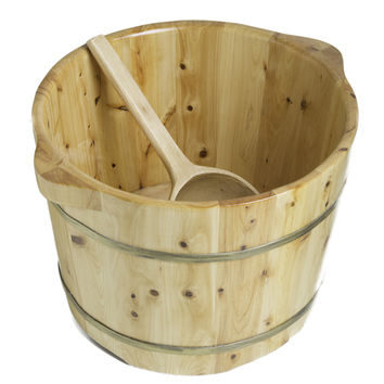 "ALFI brand AB6604 15"" Solid Cedar Wood Foot Soaking Barrel Bucket with Matching Spoon"