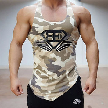 Fitness Men Tank Top Army Camo Camouflage Mens Bodybuilding Stringers Tank Tops Singlet Brand Clothing Sleeveless Shirt