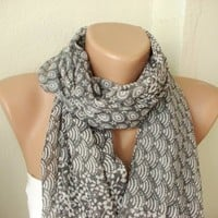 SPRING Soft grey tones Cotton Mixcolor Spring Scarf
