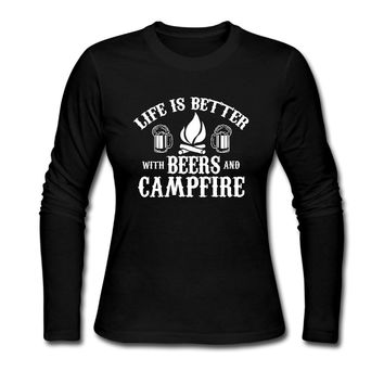 Life Is Better With Beers And Campfire - Beer/Camping - Women's T-shirt