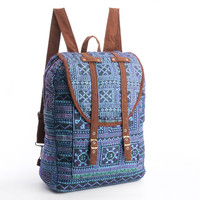 Large Exotic Blue Backpack Vintage Traditional Hand Stitched Textile