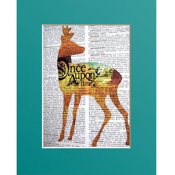 Sale Once Upon A Time Vintage French Dictionary Page Original Art