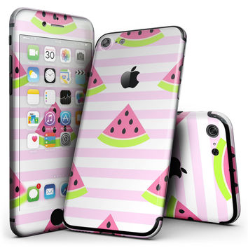 Cartoon Watermelon Over Pink Stripes - 4-Piece Skin Kit for the iPhone 7 or 7 Plus