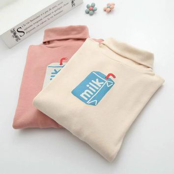 Fiodcrg 2018 Autumn Winter Girls Japanese Small Turtleneck T-Shirts Female Pink Cute Milk Printing T-shirts