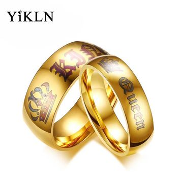 YiKLN Brand King & Queen Gold Color Crown Stainless Steel Couple Ring Romantic Wedding Rings Jewelry For Women Men Anillo JCR150