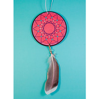 Red Mandala with Feather Car Air Freshener