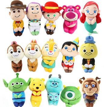 Cute Sitting Little Mermaid Ariel Princess Toy Story Chip Dale Beauty and the Beast Pinocchio Piglet Donald Duck Plush Toys