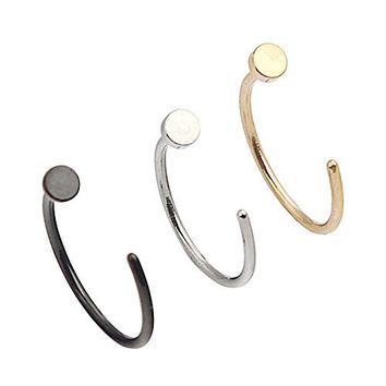 Ruifan 20G 10mm Unisex Gold & Black Plated/ Silver Stainless Steel Round Flat Nose Hoop Earring Ring Stud Body Jewelry Piercing 3PCS