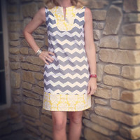 tunic dress in grey chevron and yellow print