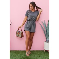 Get What You Give Romper (Charcoal)