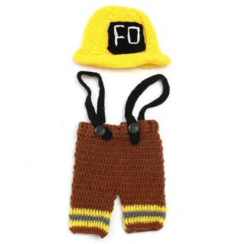 Newborn Baby Girls Boys Crochet Knit Yellow Hat Costume Photography Prop Outfits