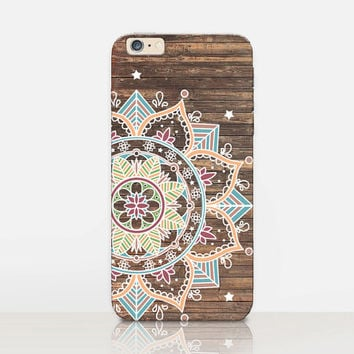 Mandala Wood Print Phone Case For-iPhone 6 Case-iPhone 5 Case-iPhone 4 Case-Samsung S4 Case - iPhone 5C - Tough Case - Matte Case - Samsung