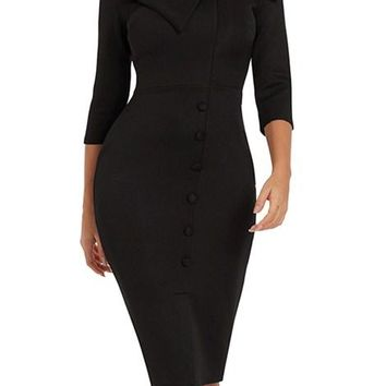 Black Long Sleeve Button Detail Bodycon Midi Dresses