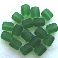 17 green faux sea glass barrel beads, forest, emerald green round short tube beads, 10 x 8mm frosted, satin, matte glass beads C0701