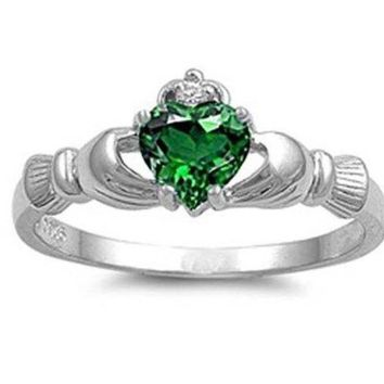 PEAPIX3 Hot! Irish Heart Shaped Emerald CZ Claddagh 925 Sterling Silver Ring Sizes 6 7 8 9 10 = 1945782980