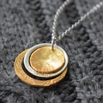 Two tone, Multi Ring necklace, 24k Gold and Silver Ring Necklace.