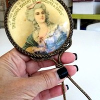 Antique The National Bakery Co's Biscuits & Cakes Advertising Hand Held Mirror