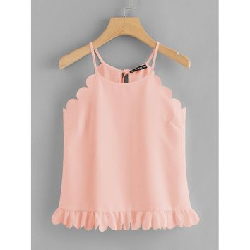 Ruffle Hem Scalloped Halter Top