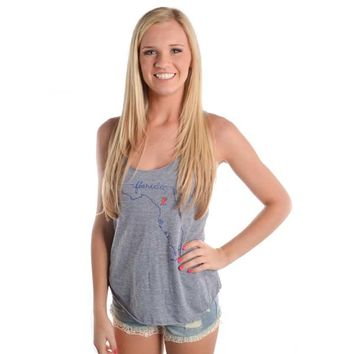 Judith March UF State Outline In Blue Tank