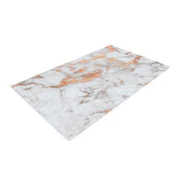 "KESS Original ""Rose Gold Flake"" White Pink Woven Area Rug"
