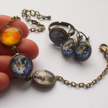 Solar System Bracelet, Sun, Moon, Earth, Universe Bracelet, Space Jewelry