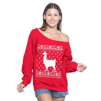 Off Shoulder Llama Christmas Sweatshirt. Funny Christmas Sweater for Women. Llama Ugly Christmas Sweater Oversized.