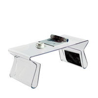 Clear Acrylic Rectangle Coffee Table with Magazine Holder