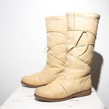 BLACK FRIDAY Cyber Monday 10 | Women's Tall Blonde Leather Fleece Lined Winter Boots by Cherokee Chief