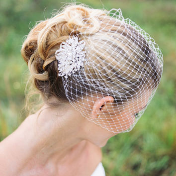 wedding veils, Birdcage veil with rhinestone comb- JADA