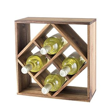 Rustic Farmhouse Acacia Wood Lattice Wine Rack by Twine