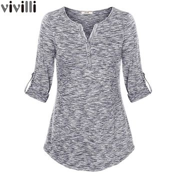 Women Henley V Neck Space Dyed Cuffed Sleeve T Shirt Tops Elegant V-Neck Knit Tee Shirt Slim Button Female Casual Tunic Top