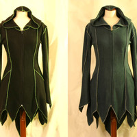 Made to Order: Longer at Back Goth Psy Elven Faery Fleece Coat with Overlock details and Pixie Hood, Many Colors, XS-3XL