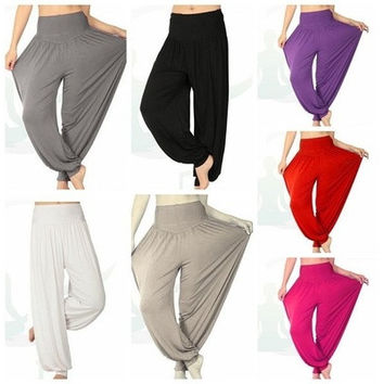 Women Comfy Harem Loose Long Pants Belly Dance Casual Boho Wide Trousers 01-033