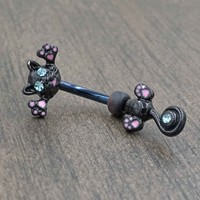 Black Cat Belly Button Ring