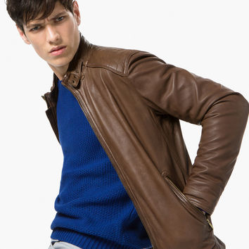 NAPPA LEATHER JACKET WITH TOPSTITCHED SHOULDERS - United States of America / Estados Unidos de América