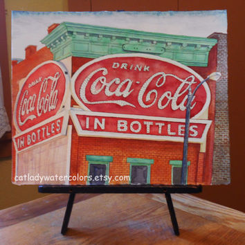 Original Coca Cola Building Watercolor Painting. Coca Cola Painting. Coca Cola wall art. Coca Cola picture. Watercolor art. Coke artwork.