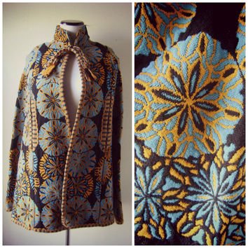 stunning 60s CAPE woven cotton vintage hippie poncho turquoise orange MEDALLION tapesry boho festival jacket coat ooak gypsy bohemian caplet