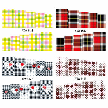 YZWLE 1 Sheet 2016 New Arrival Classic Plaid Transfer Sticker Nail Art Decals Nails Wraps Temporary Tattoos Watermark Nail Tools